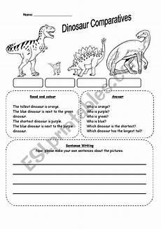 dinosaur grammar worksheets 15313 dinosaur comparatives esl worksheet by seong83