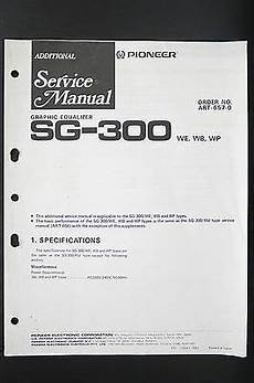 Pioneer Sg 300 Graphic Equalizer Additional Service Manual