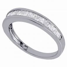real diamond baguette wedding band ring in 925 sterling silver 0 50 ct 4mm ebay