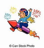 Firework Smiling A Cartoon Rocket Happy And