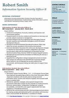 information system security officer resume sles