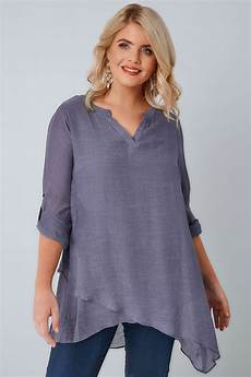 layering blouse dusky purple layered blouse with notch neck dipped hem