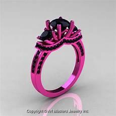14k pink gold three stone black diamond wedding ring engagement ring r182 14kpgbd