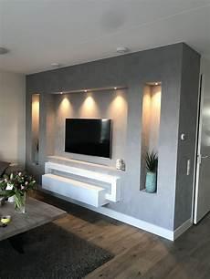 wohnzimmer ideen tv betonlook tv wand in 2019 tv wand wohnzimmer tv wand