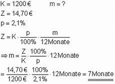 finanzierung berechnen formel zinsrechnung mathe brinkmann