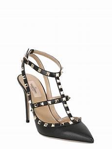 valentino 100mm rockstud tumbled leather pumps in black lyst