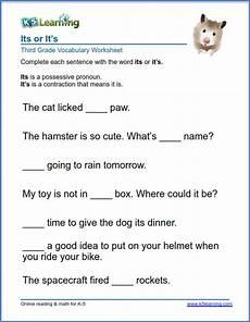 punctuation worksheets for grade 3 k5 20988 its or it s in sentences worksheets k5 learning