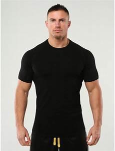 anax fitness black plain t shirt