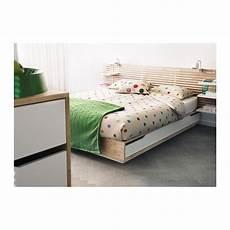 cadre lit avec rangement mandal bouleau blanc un toit