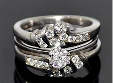 wedding engagement ring jacket white gold 14k 0 62ct diamons 3 in 1pc engagement ring only