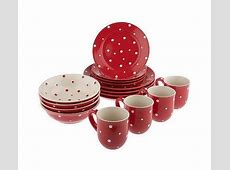 Red Polka Dot 16 piece Dinnerware Service for 4 in