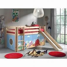 lit mezzanine enfant avec toboggan en pin massif naturel