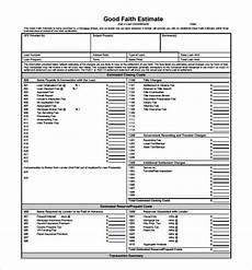 good faith estimate blank good faith estimate form excel