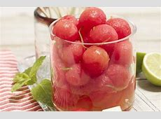 melon balls with rum and lime image