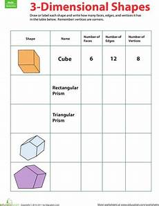 3 d shapes fill in the table worksheet education com