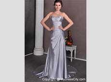 Beaded Appliques Ruching Court Train Silver Wedding