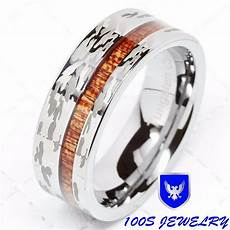 mens tungsten ring camo army hunting inlay silver
