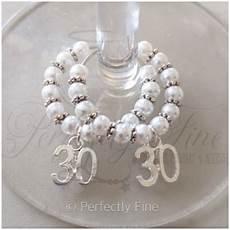 30th pearl wedding anniversary wine glass charms 30th