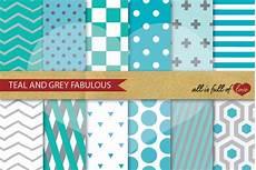 teal grey digital paper geometric patterns printable