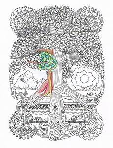 adult coloring page peace sign tree printable line art to