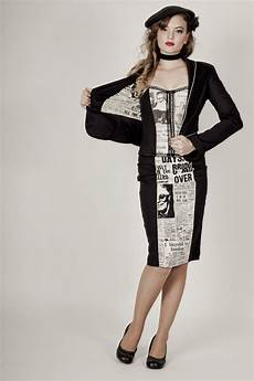 siren and sailor newsprint bustier jacket off the press pinupcouture pinup