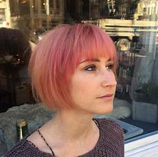 short pink bob hairstyles with bangs cute short haircuts