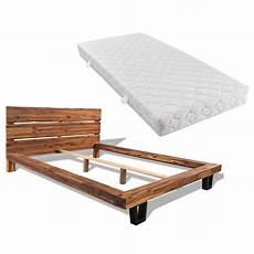 bett matratze bett mit matratze akazienholz massiv 140 x 200 cm my