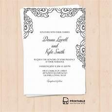 free pdf vintage side border invitation printable wedding invitation template for diy brides