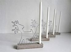 adventskranz beton kerzenhalter draht rentiere basteln