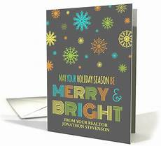 merry bright christmas realtor colorful snowflakes card 1154662