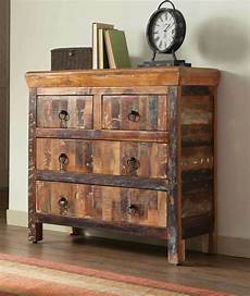 artsy rustic reclaimed finish 4 drawer storage