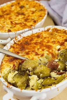 Rosenkohlauflauf Mit Kartoffeln - brussels sprouts casserole with potatoes and bacon