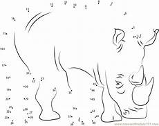animal dot to dot worksheets 13841 or print two horned rhino dot to dot printable worksheet from animals rhino connect the
