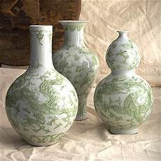 tozai home set of 3 carved celadon vases