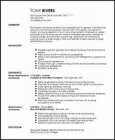 resume for building maintenance resume sle