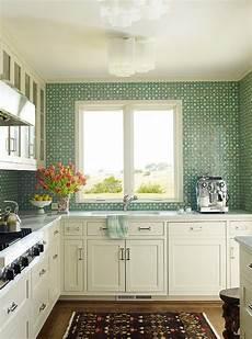 white kitchen with green tiles design ideas
