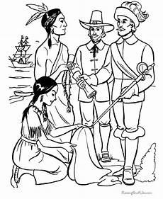 Gratis Malvorlagen Indianer Pilgrims And Indians Coloring Sheets 022