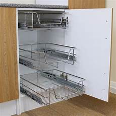 Kitchen Cupboard Pull Out Storage 3 pull out kitchen wire baskets slide out storage cupboard