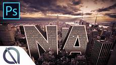 how to make 3d big city text photomanipulation tutorial photoshop youtube