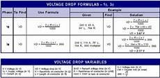 cable sizing voltage drop calculations formula