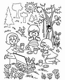 three children family picnic coloring pages netart