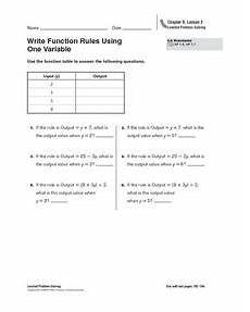 write function rules using one variable worksheet for 5th 6th grade lesson planet