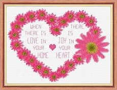 flower heart home love wording 14 count cross stitch kit