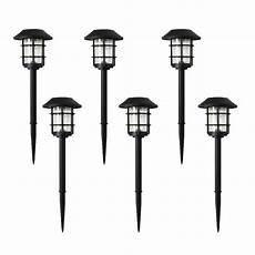 hton bay solar black outdoor integrated led 3000k 10 lumens metal and glass landscape pathway