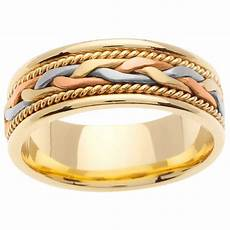14k tri color gold men s wedding band free shipping today overstock com 14037111