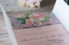 diy vintage style wedding invitation with floral and cameo