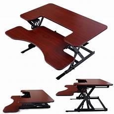adjustable height stand up desk computer workstation lift rising laptop brown ebay