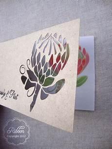 diy wedding invitations johannesburg pin by ribbon creative studio on proteas fynbos in 2019 protea wedding wedding protea art