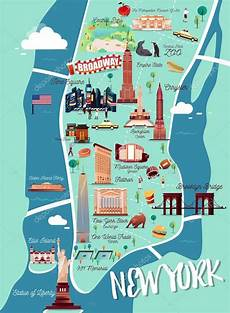 new york manhattan illustration map stock vector