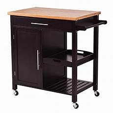 com giantex rolling kitchen island trolley cart bamboo top storage cabinet utility